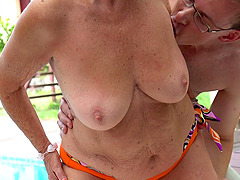 Mature senorita rides the stiff pecker of her beloved nerdy apprentice