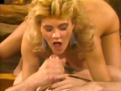 Blond busty wench Ginger Lynn sucks sweet massive cock