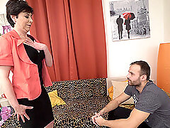 Mature short haired brunette MILF seduces a younger guy into fucking