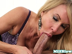 Classy cougarmama sucking younger dudes cock