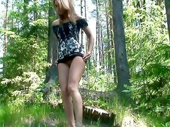 Piss in the woods looks sexy