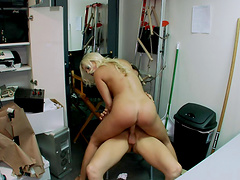 Blonde pornstar pleases stud with her tight pussy and mouth