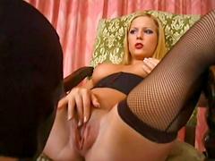 Sexy blonde sluttie bounced hard to a horny hot man's dick