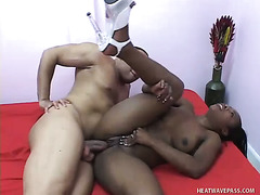 Amazing chocolate big breasted hottie Destiny Lane rides fat big dick