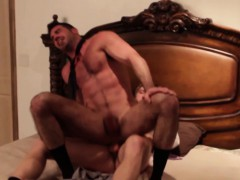 Muscled business hunk fucked by young stud