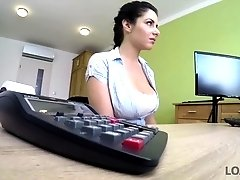 Secretary Alex Black shows her tits at work