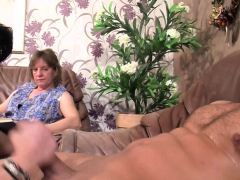 Old granny wife watches her husband cheat
