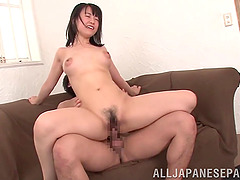 Super cute Japanese girl with big tits fucks two guys
