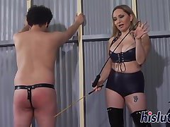 Foxy bitch spanks a naughty stud