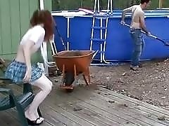 Horny redhead shemale sucks on a big white cock passionately
