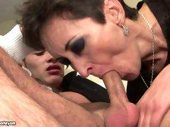Cougar slut seduces young stud for sex so then she eats his ass