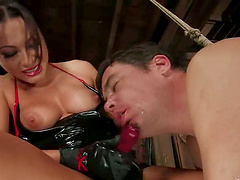 Busty Sandra Romain Strapon Fucks a Guy in Femdom and Bondage Video