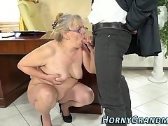 Spex grandma mouth jizzed