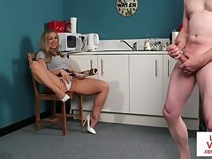 Stunning femdom beauty humiliating sub guy