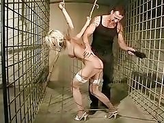 Sexy blonde gets punished and fucked rough outdoors BDSM porn