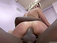 Dirty white girl ass fucked by a big black dick