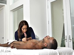 exotic stepmom isis love massages stepson's big black cock