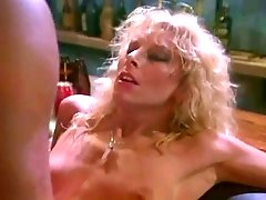 Hot curly and curvy blonde vintage bar woman gives a good blowjob