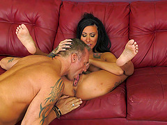 Brunette tattooed slut Lily Lane fucked hard by a nasty lover