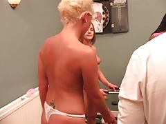 Short-haired blonde getting fucked