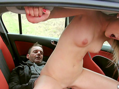 Guys get a hottie in the car and fuck her in the back seat
