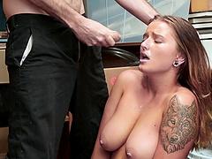 Buxom Dakota Rain waiting for her tits to get cummed on