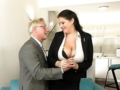 Milf secretary tries hard sex with her old boss