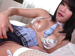 Asian Ladyboy toying herself