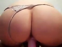 Homemade Blonde Using a dildo that is red