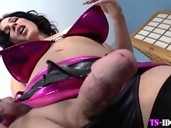 Glam shemale jerks dick