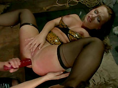 Two horny brunettes girls get their asses fucked rough