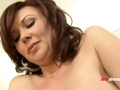Bosomy brunette beauty Felony Foreplay rides and blows sugary dick of her buddy