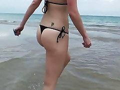 Sexy Veruca James shows off on beach and does anal