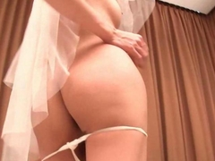 Shemale bride rubbing her big penis