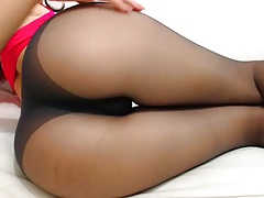 Nice ass in black pantyhose