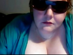 Hot bbw teasing with huge tits and cleavage